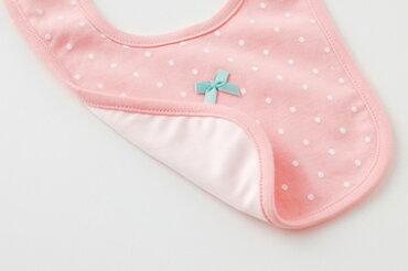 スタイよだれかけ2枚組セット女の子ベビー服ベビー服赤ちゃん出産祝いギフトプレゼントボーダードット水玉りぼんリボンピンクマジック式おしゃれかわいいビブエプロンW8283チャックルベビー