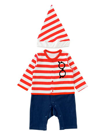 ウォーリーカバーオール長袖帽子ベビー服ベビー服赤ちゃんキッズ子供ハロウィンコスプレ仮装衣装男の子前開き7080P2893チャックルベビー
