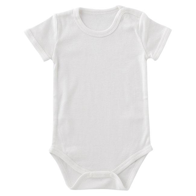白無地かぶり半袖ロンパース赤ちゃん 服 ベビー ベビー服 ボディスーツかぶり 半袖 無地 白 チャックルベビー
