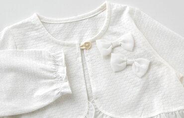 スウィートガール春物カーディガンボレロベビー服ベビー赤ちゃん服女の子春夏子供出産祝いギフトカーデアウター上着70809095ホワイト白ピンクP3399チャックルベビー