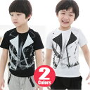 【3点メール便送料無料】ジャケットプリント半袖Tシャツ・2カラー・フェイクTシャツ 【子供服 キッズ 韓国子供服 子ど…