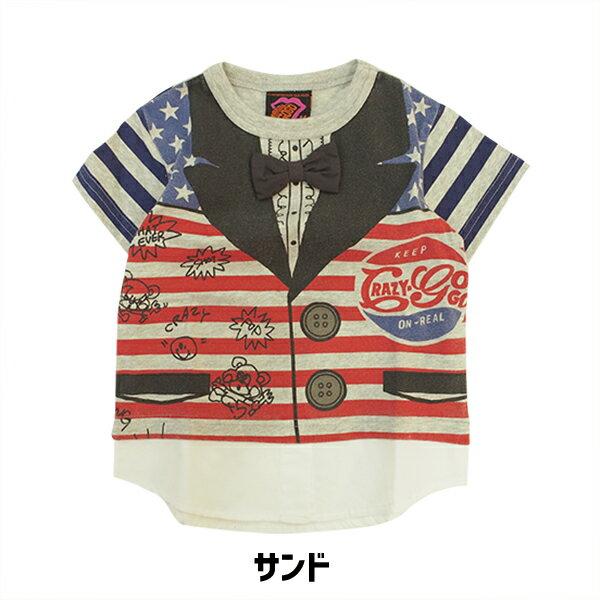 半額【50%OFFセール】 51810120  クレイジーゴーゴー アメジャケ T 子供服/キッズ かわいい かっこいい 夏 春 キッズコーデ 親子コーデ おそろい Tシャツ レトロ