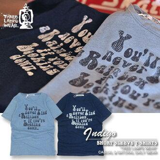 出售 [三个灯穿...] 三个灯服装 * 你会 ★ 靛蓝汗布印花 T 恤!