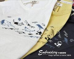 Tシャツレディース半袖ゆったりおしゃれチュニックTシャツ体型カバーワイドビッグアニマルフェスティバル刺繍ドルマンTシャツ