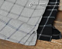 ブラウスシャツレディース北欧刺繍ブローチコットンチュニックゆったり華奢見せ効果大体型カバーワイドビッグプルオーバー8分袖刺繍ブローチ付さしこチェックブラウス