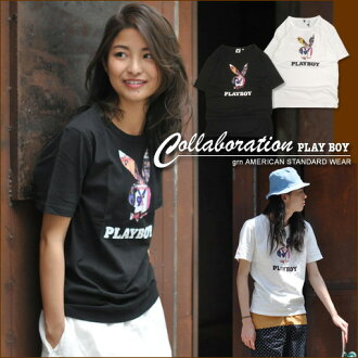 ジーアールエヌ * [grn×PLAYBOY] Playboy Rabbit Head ★ collaboration t-shirt