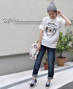 MICKEYTシャツメンズユニセックスアウトドアフェスミッキーディズニーdisney半袖クルーネックgrn×disneyミッキーマウスコラボレーションキャンプTシャツ
