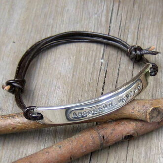 In the world one complete bracelet-order ONLY ONE ☆ Double Plates Silver & Leather Bangle *