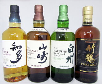 Set of 4 bottles including Chita, Yamazaki, Hakushu and Tsurutake, 700ml