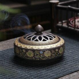 香炉 蓮花 蓋付 中国製(お香立て付き)