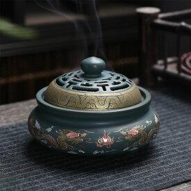 香炉 双竜 蓋付 中国製(お香立て付き)