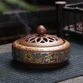 香炉 万花 蓋付 中国製(お香立て付き)