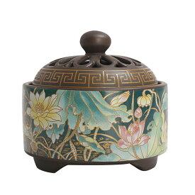 香炉 彩花 蓋付 中国製(お香立て付き)