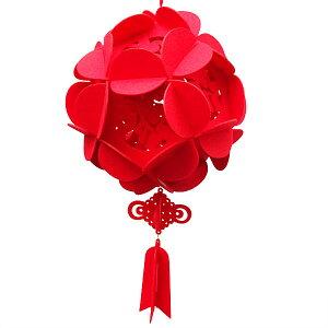 フェルト 花福玉 小 直径18cm (中華 装飾 春節 正月)