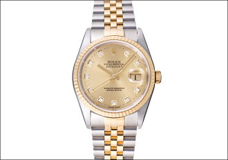 Rolex Datejust Ref.16233G champagne 10 P dial in 1996 (DIAL the 10 p of CHAMPAGNE GOLD, ROLEX DATEJUST Ref.16233G Ca.1996)