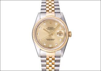 劳力士日期确切Ref.16233G香槟黄金10P拨盘1996年(ROLEX DATEJUST Ref.16233G CHAMPAGNE GOLD 10P DIAL Ca.1996)