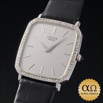 セイコークレドールプレステージ Ref.6020-4070-D white gold diamond bezel 1981