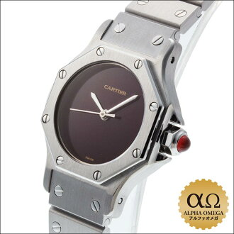Cartier Santos Octagon Bordeaux dial SM stainless steel in the 1980s