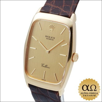 Rolex Cellini rectangle Ref.4136/8 YG yellow gold hand, volume 1999, A No.