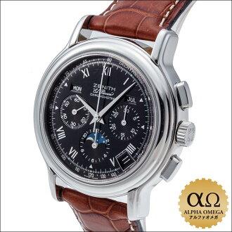在 2002 年天顶 Chronomaster T 月相腕表 Ref.01.0240.410/21 不锈钢黑色表盘