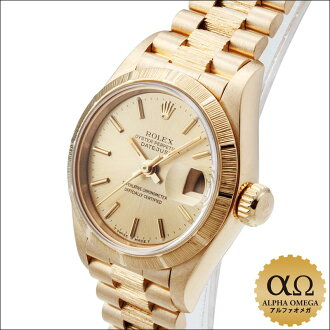 Rolex date just Burk Ref .69278 yellow gold champagne gold dial 1991
