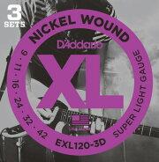 D'AddarioEXL120-3Dダダリオ製エレキギター弦お得な3セットパック09-42