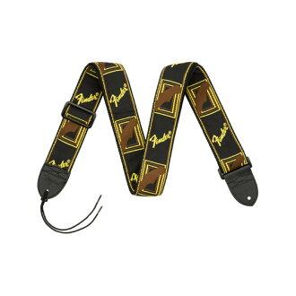 "Fender 2"" Monogrammed Strap Black/Yellow/Brown 기타 스트랩"