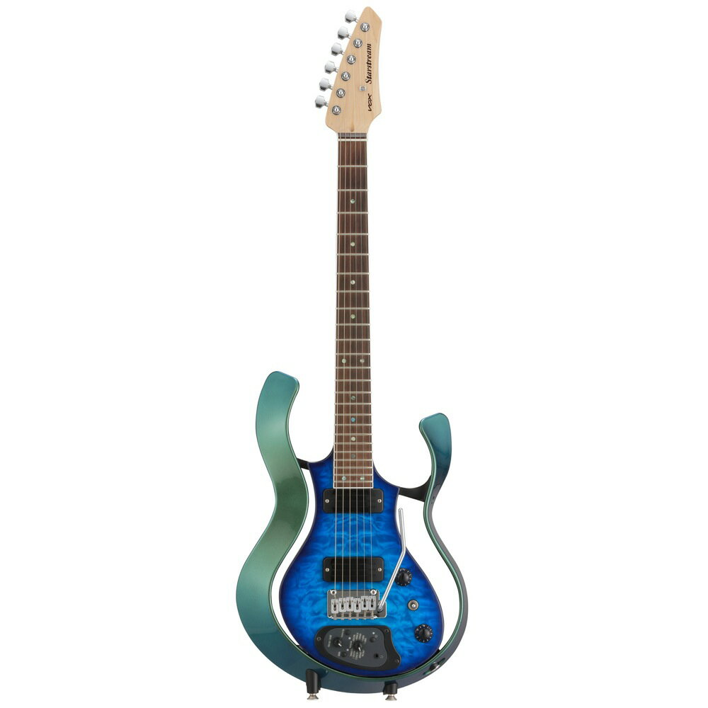 VOX VSS-1-24MGTL-Q Starstream Metallic Green Frame with Trans Blue Quilted Maple Top モデリングギター