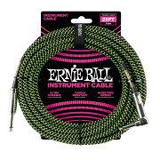 ERNIEBALL#606625ftBraidedCablesBlack/Greenギターケーブル