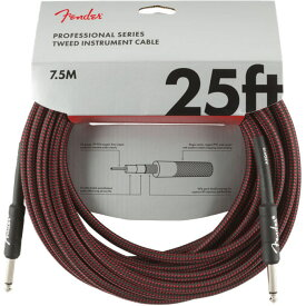 Fender Professional Series Instrument Cable SS 25' Red Tweed ギターケーブル