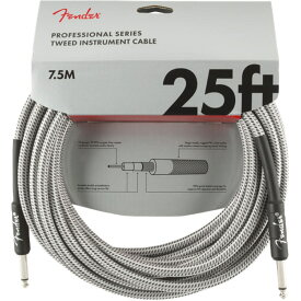 Fender Professional Series Instrument Cable SS 25' White Tweed ギターケーブル