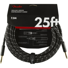 Fender Deluxe Series Instrument Cables SS 25' Black Tweed ギターケーブル