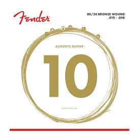Fender 80/20 Bronze Acoustic Strings Ball End 70XL 010-048 Gauges アコースティックギター弦