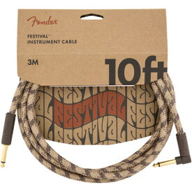 Fender 10' Angled Festival Instrument Cable Pure Hemp Brown Stripe SL ギターケーブル