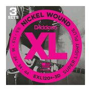 D'AddarioEXL120+-3Dエレキギター弦3セットパック