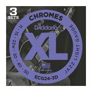 D'AddarioECG24-3Dフラットワウンドエレキギター弦3セットパック