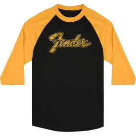 Fender Doodle 3/4 Sleeve Raglan Shirt Black and Yellow XL 7分袖 Tシャツ XLサイズ