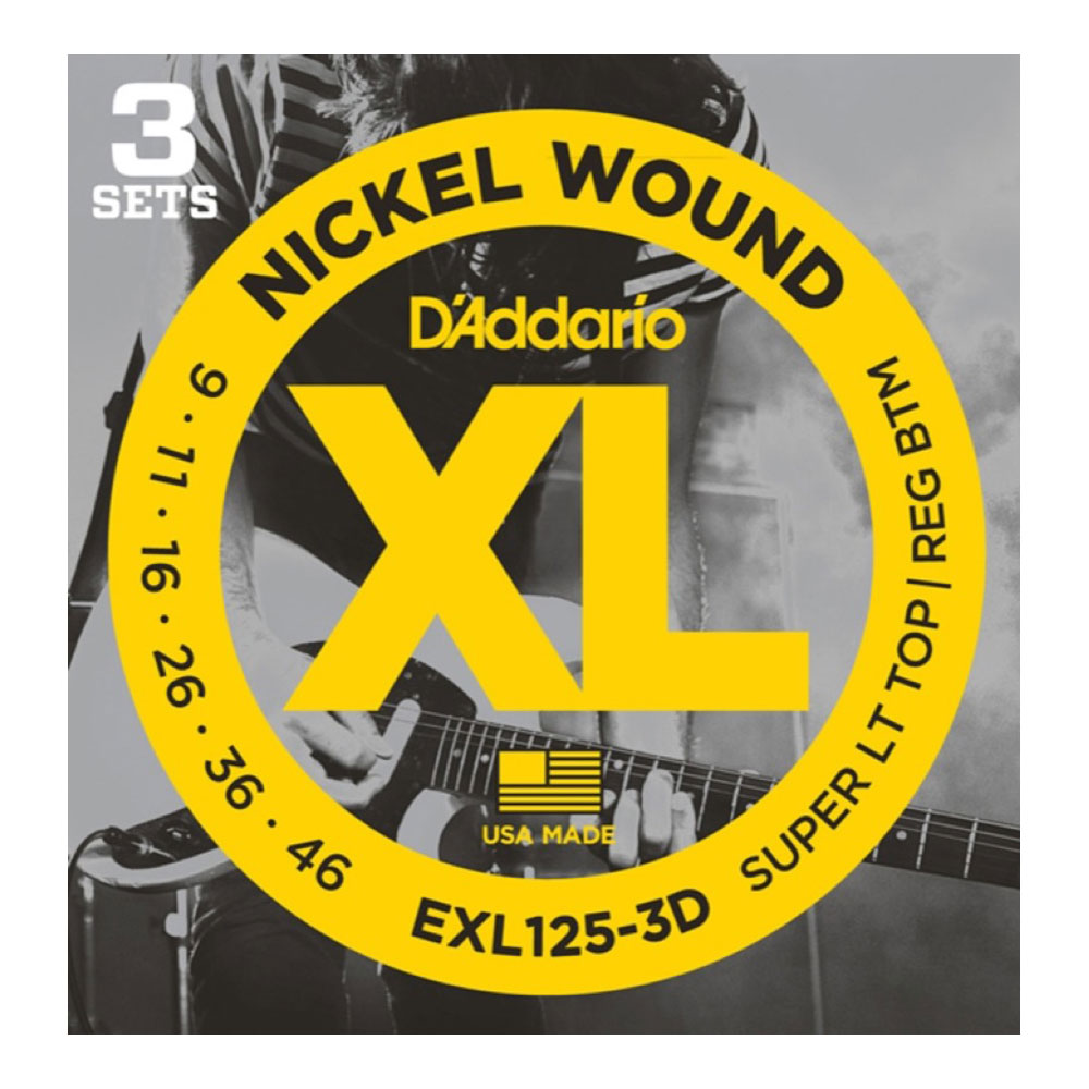 D'Addario EXL125-3D エレキギター弦/3セットパック