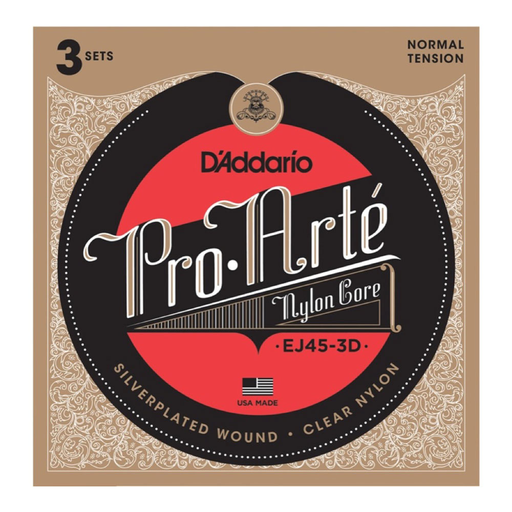 D'Addario Pro-Arte EJ45-3D クラシックギター弦 3セットパック