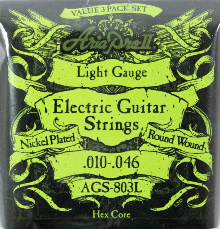 AriaProII AGS-803L 3セットパック エレキギター弦