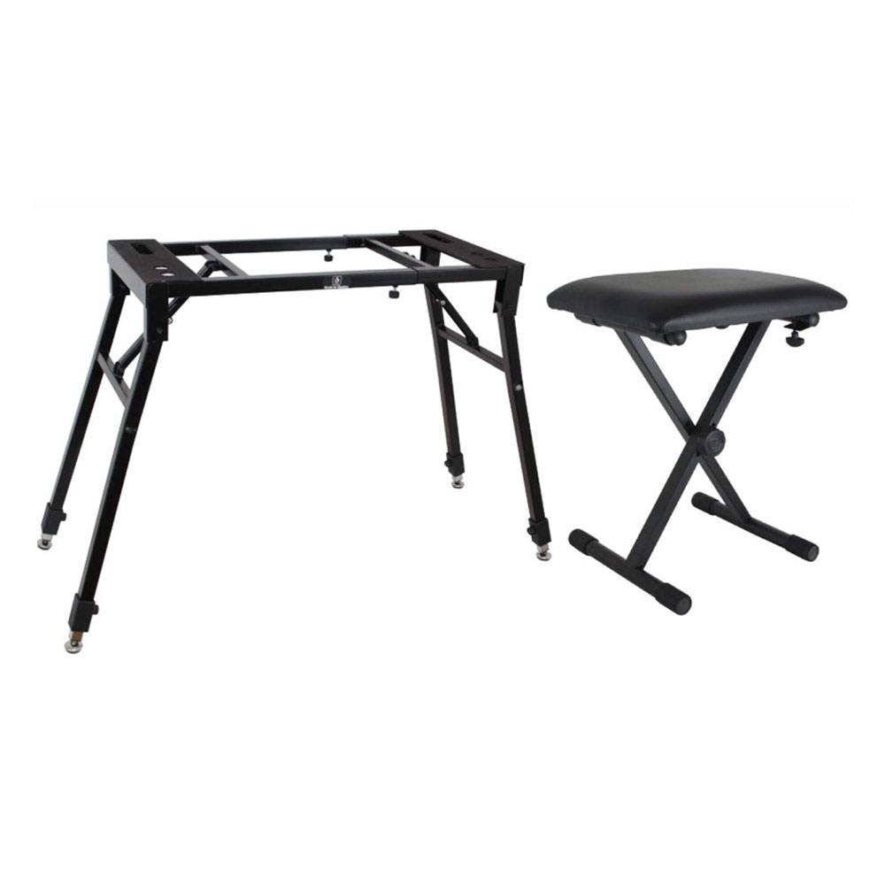 Dicon Audio KS-060 4本脚型 サイズ調整可能なキーボードスタンド ピアノ椅子 セット