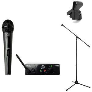 AKG WMS40 PRO MINI VOCAL SET JP2 ワイアレスマイク Dicon Audio MS-003 マイクスタンド Hosa MHR-122 マイクホルダー 3点セット