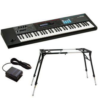 ROLAND JUNO-DS61 synthesizer Dicon Audio KS-060 four leg type keyboard stands DP-2 foot switch three points set