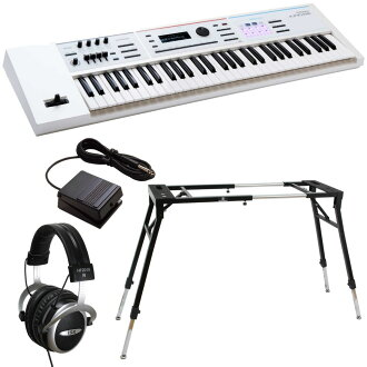 ROLAND JUNO-DS61W synthesizer Dicon Audio KS-060 four leg type keyboard stands DP-2 foot switch iSK HF2010V headphones four points set