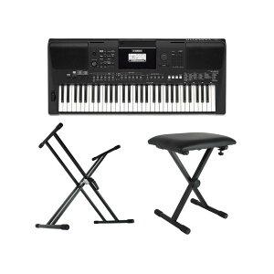YAMAHA PSR-E463 PORTATONE 61鍵盤 電子キーボード キーボードスタンド キーボードベンチ 3点セット [鍵盤 Bset]