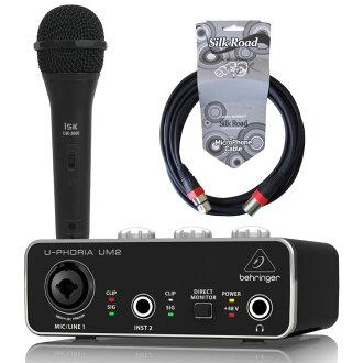 BEHRINGER UM2 U-PHORIA 오디오 인터페이스 iSK 다이나믹 마이크+5 m마이크 케이블 부착 세트