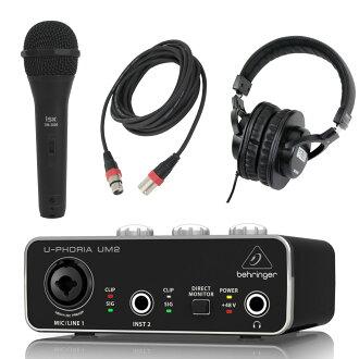 BEHRINGER UM2 U-PHORIA 오디오 인터페이스 iSK 다이나믹 마이크+3 m마이크 케이블+SD GAZER 헤드폰 부착 세트