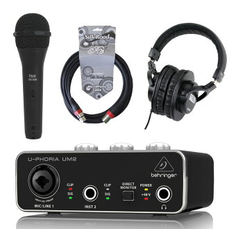 BEHRINGER UM2 U-PHORIA 오디오 인터페이스 iSK 다이나믹 마이크+5 m마이크 케이블+SD GAZER 헤드폰 부착 세트