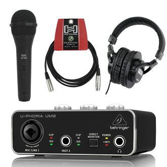 BEHRINGER UM2 U-PHORIA 오디오 인터페이스 iSK 다이나믹 마이크+Hosa CMI-110 3 m마이크 케이블+SD GAZER 헤드폰 부착 세트