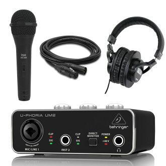 BEHRINGER UM2 U-PHORIA 오디오 인터페이스 iSK 다이나믹 마이크+Hosa CMK-010 AU 3 m마이크 케이블+SD GAZER 헤드폰 부착 세트